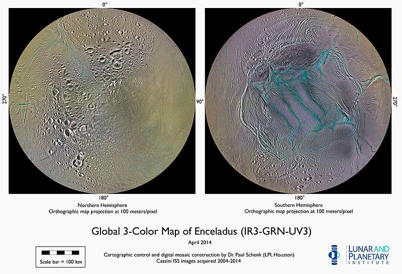 pole nord et sud Encelade